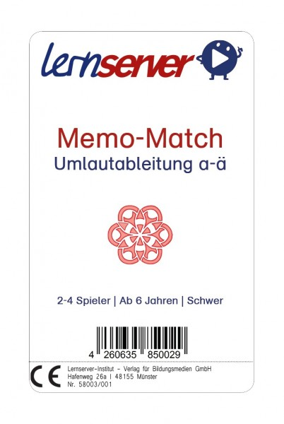 Memo-Match: Umlautableitung a-ä, schwer, ohne Bild